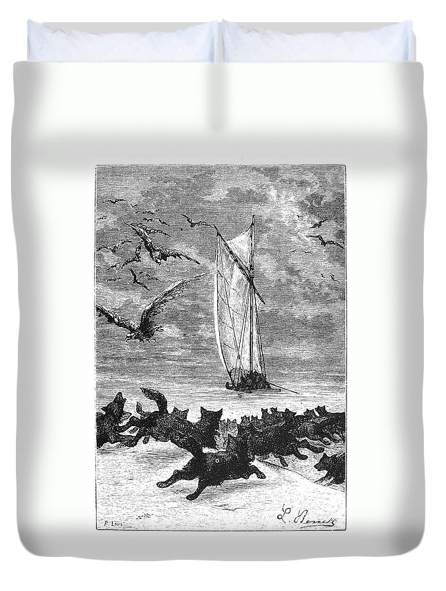 1873 Duvet Cover featuring the photograph Verne: Around The World by Granger