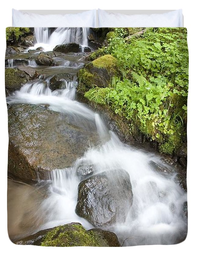Attractions Duvet Cover featuring the photograph Water Cascading Over Rocks, Mount Hood by Craig Tuttle