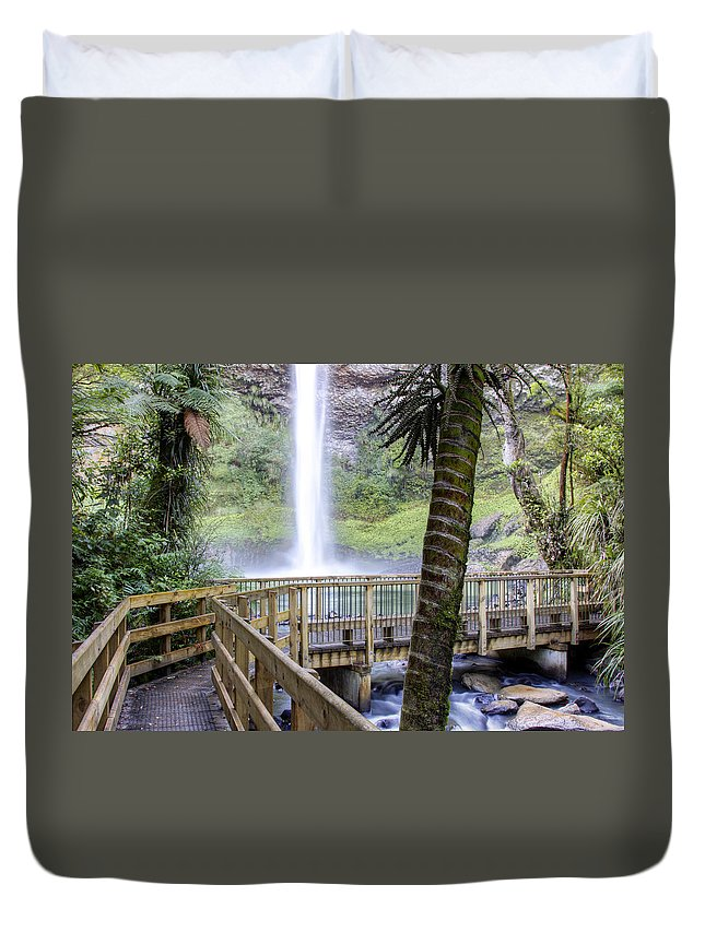 Boardwalk Duvet Cover featuring the photograph Waterfall by Les Cunliffe