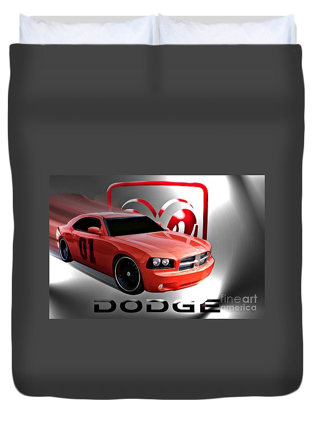 Dodge Duvet Cover featuring the digital art West Coast General by Tommy Anderson