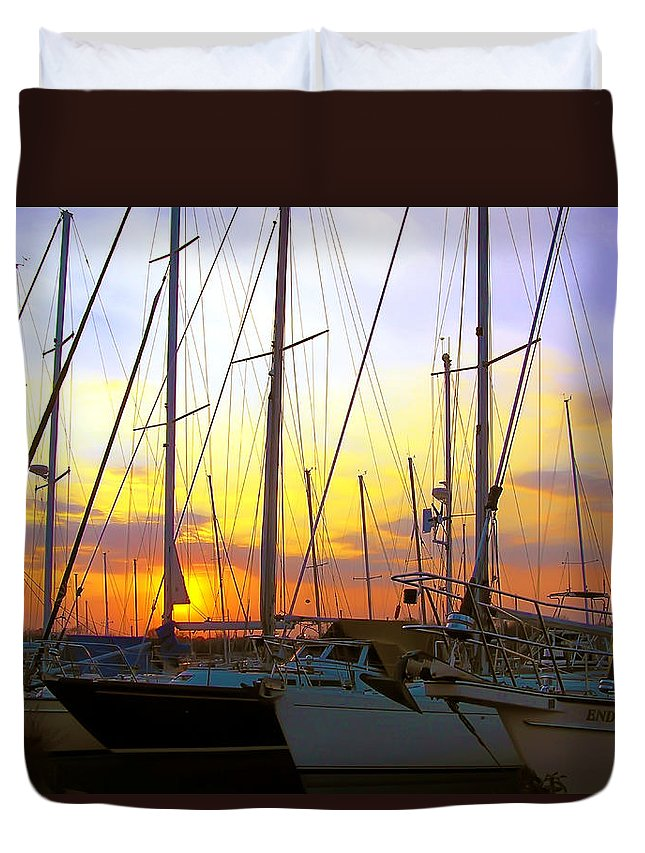 2d Duvet Cover featuring the photograph White Rocks Marina Sunset by Brian Wallace