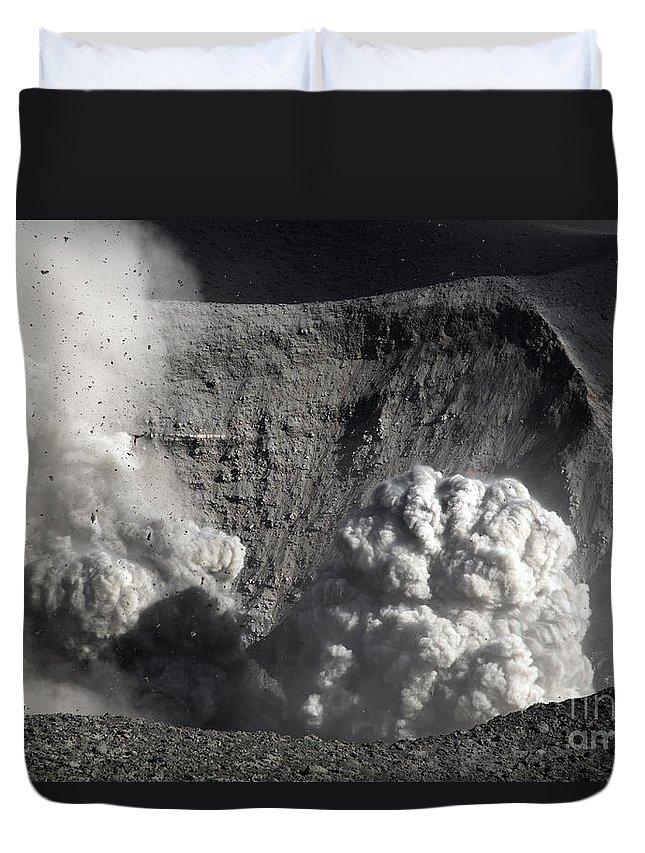 No People Duvet Cover featuring the photograph Yasur Eruption, Tanna Island, Vanuatu by Martin Rietze