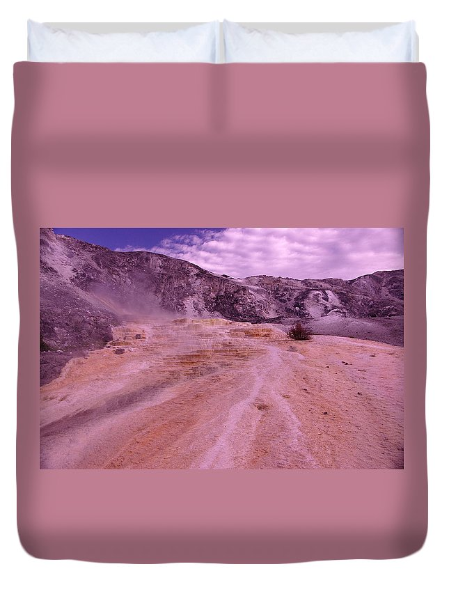 Hot Springs Duvet Cover featuring the photograph Yellowstone Hot Springs by Jeff Swan