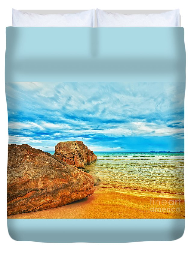Ocean Duvet Cover featuring the photograph Beach by MotHaiBaPhoto Prints