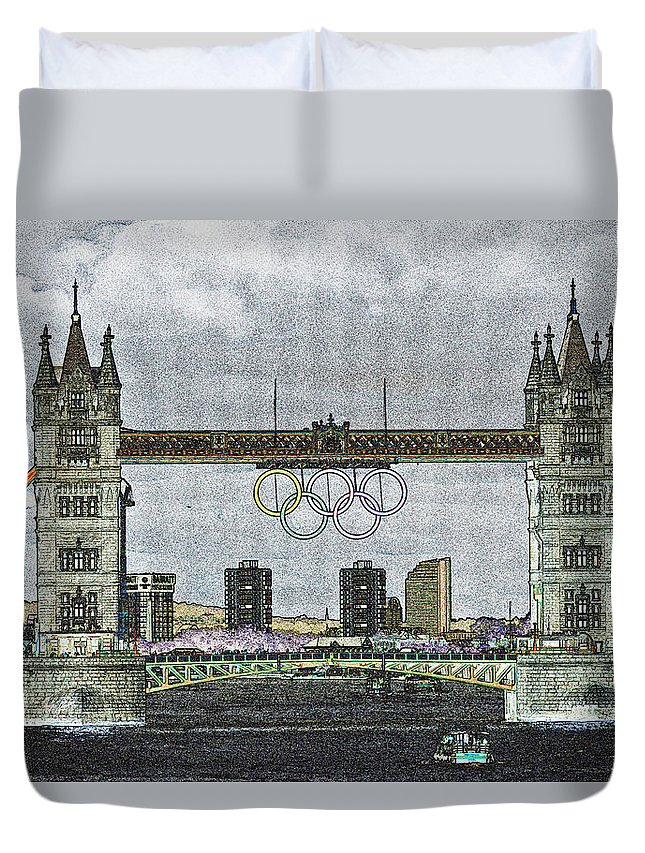 Olympics Duvet Cover featuring the digital art Tower Bridge Art by David Pyatt