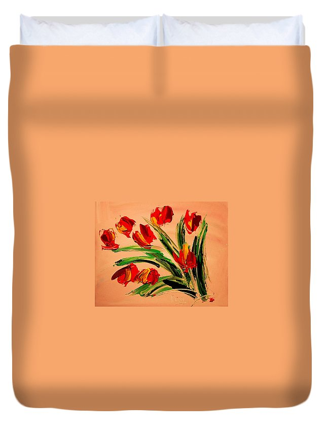 Landscape Framed Prints Paintings Paintings Duvet Cover featuring the painting Flowers by Mark Kazav