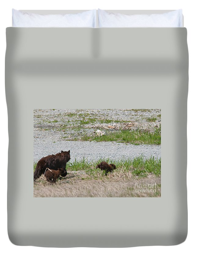 Animals Duvet Cover featuring the digital art Black Bear Family by Carol Ailles