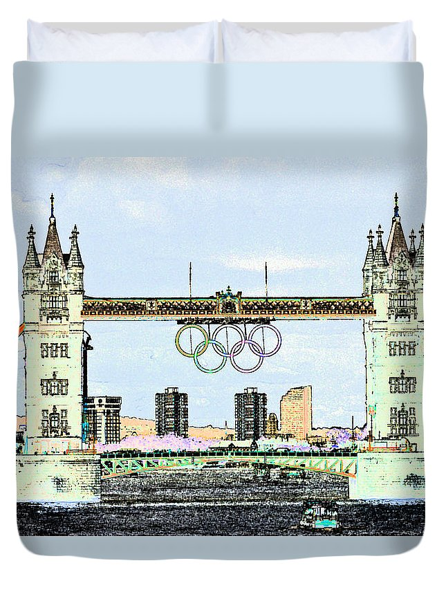Olympics Duvet Cover featuring the digital art Tower Bridge Art by David Pyatt