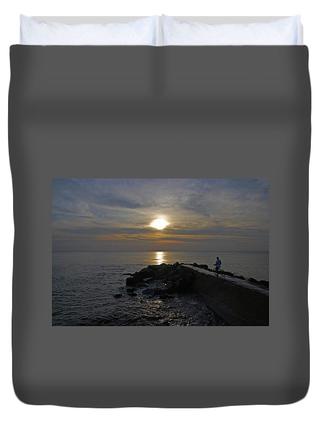 Jetty Man Bicycle Sunrise Duvet Cover featuring the photograph 13- The Witness by Joseph Keane