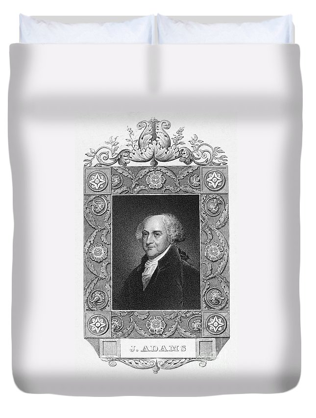 18th Century Duvet Cover featuring the photograph John Adams (1735-1826) by Granger