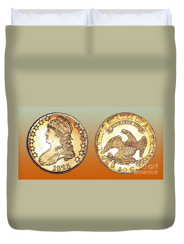 Coin Photographs Duvet Cover featuring the photograph 1825 Rainbow Capped Bust Half Dollar by Jim Carrell