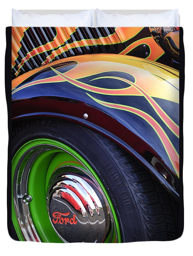 1933 Ford Duvet Cover featuring the photograph 1933 Ford Wheel by Jill Reger