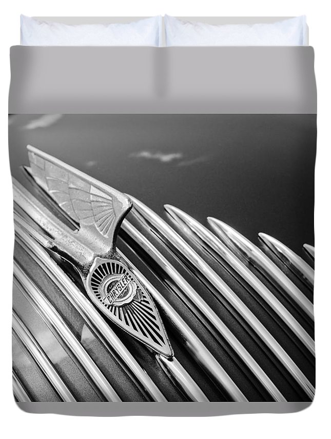 1934 Chrysler Airflow Duvet Cover featuring the photograph 1934 Chrysler Airflow Hood Ornament 3 by Jill Reger