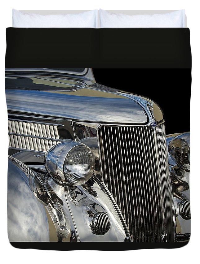 1936 Ford - Stainless Steel Body Duvet Cover featuring the photograph 1936 Ford - Stainless Steel Body by Jill Reger
