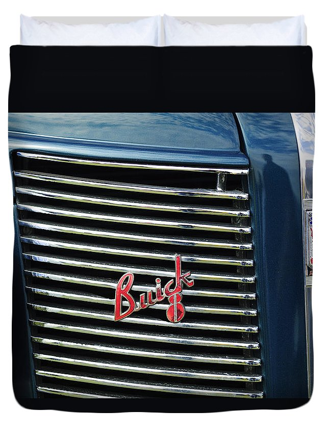 1937 Buick Duvet Cover featuring the photograph 1937 Buick Grille Emblem by Jill Reger