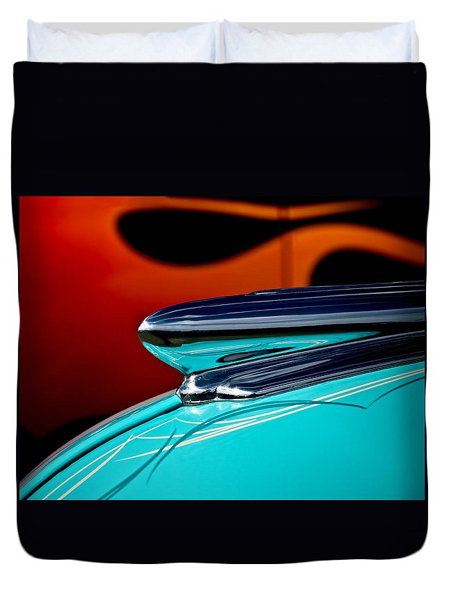 1948 Chevy Duvet Cover featuring the photograph 1948 Chevy Hood Ornament by Douglas Pittman