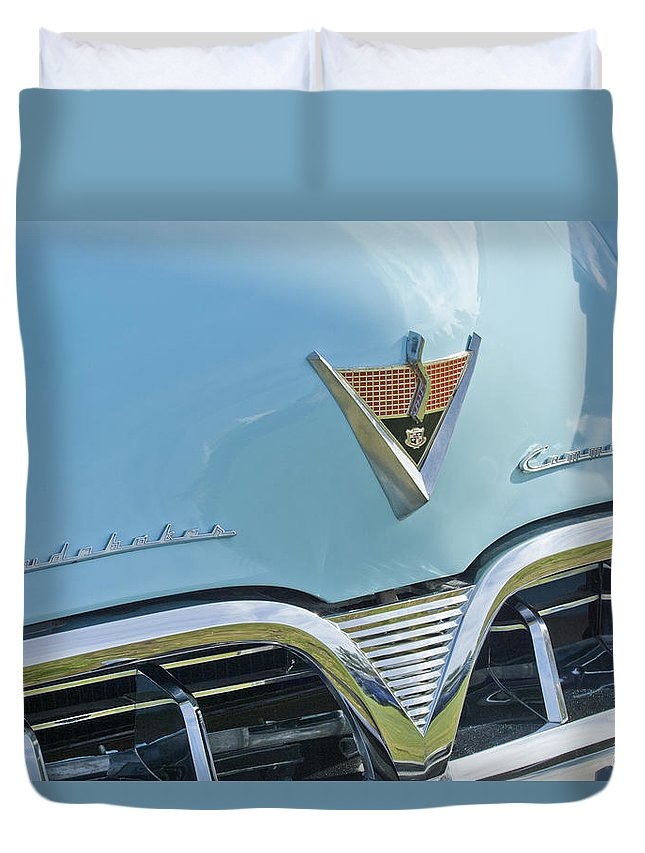 1952 Studebaker Duvet Cover featuring the photograph 1952 Studebaker Hood Emblem by Jill Reger