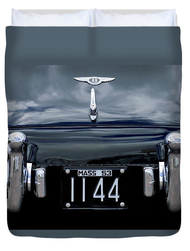 1953 Bentley Duvet Cover featuring the photograph 1953 Bentley Rear View License Plate by Jill Reger