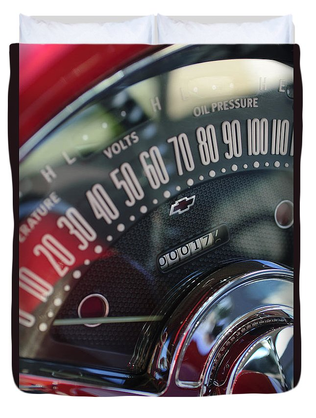1955 Chevrolet 210 Duvet Cover featuring the photograph 1955 Chevrolet 210 Speedometer by Jill Reger