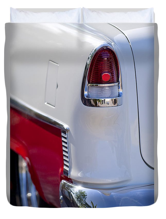 1955 Chevrolet 210 Duvet Cover featuring the photograph 1955 Chevrolet 210 Taillight by Jill Reger