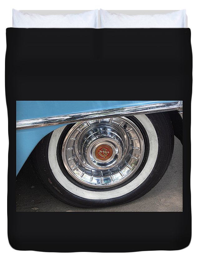 Transportation Duvet Cover featuring the photograph 1956 Cadillac Front Wheel by Linda Phelps