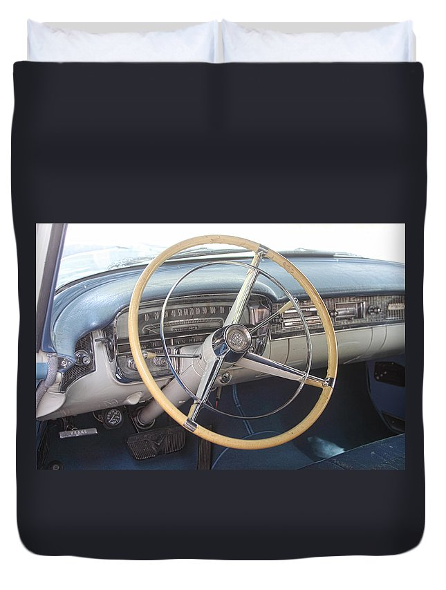 Transportation Duvet Cover featuring the photograph 1956 Cadillac Steering Wheel And Dash by Linda Phelps