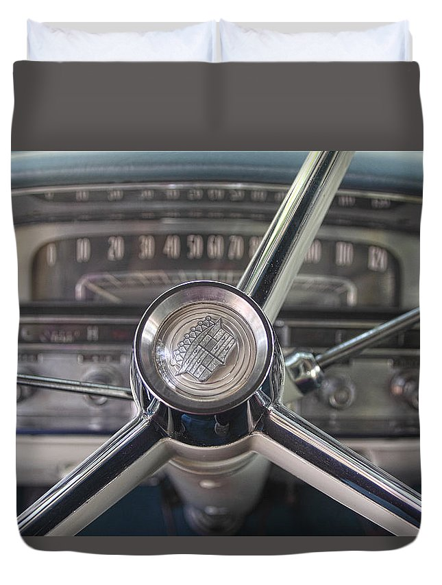 Transportation Duvet Cover featuring the photograph 1956 Cadillac Steering Wheel by Linda Phelps