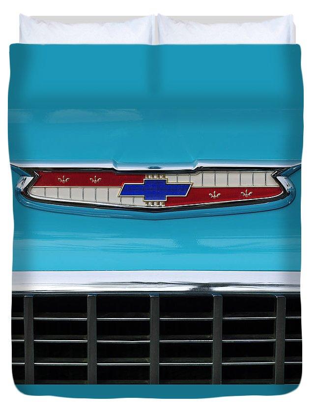 1956 Chevrolet Belair Nomad Duvet Cover featuring the photograph 1956 Chevrolet Belair Nomad Grille Emblem by Jill Reger