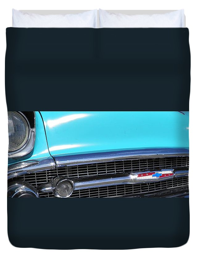 Panoramic Duvet Cover featuring the photograph 1957 Chevrolet Bel Air Classic Car Panoramic Fine Art Photo by Sven Migot