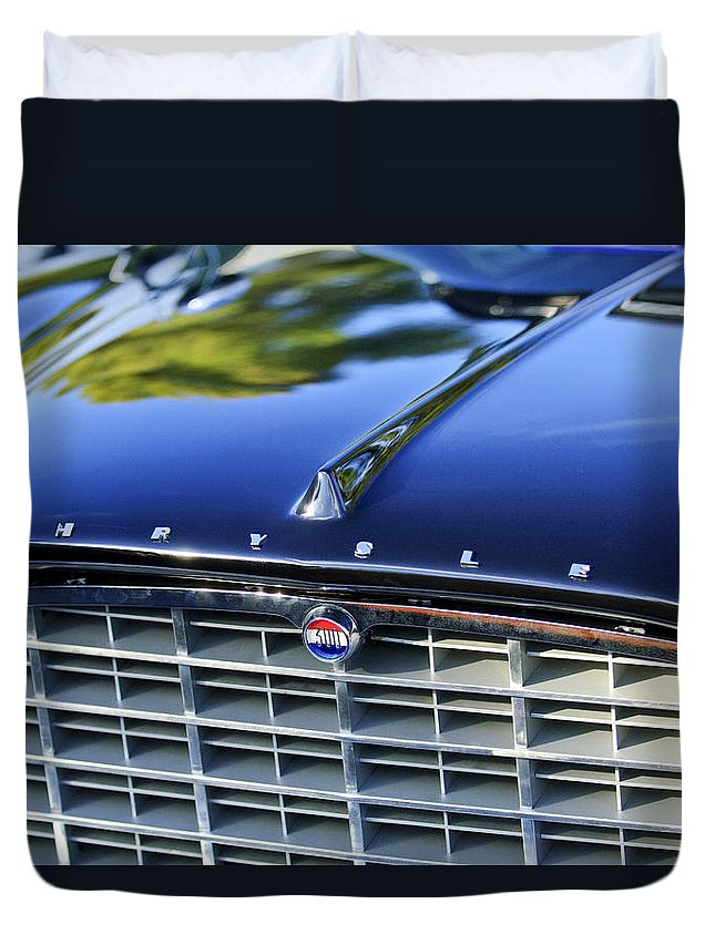1957 Chrysler 300c Duvet Cover featuring the photograph 1957 Chrysler 300c Grille Emblem by Jill Reger