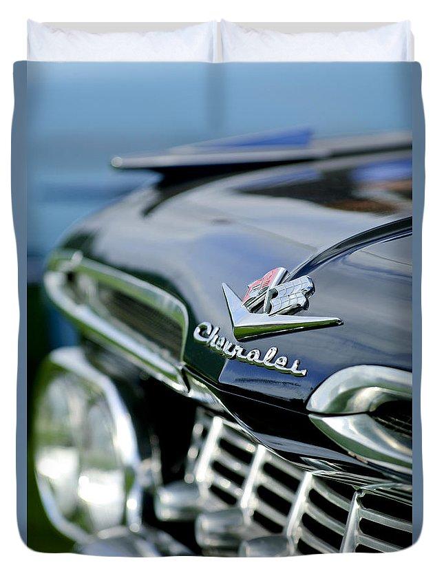 1959 Chevrolet Duvet Cover featuring the photograph 1959 Chevrolet Grille Emblem by Jill Reger