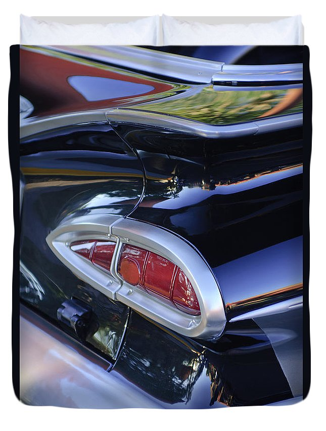 1959 Chevrolet Impala Duvet Cover featuring the photograph 1959 Chevrolet Impala Taillight by Jill Reger