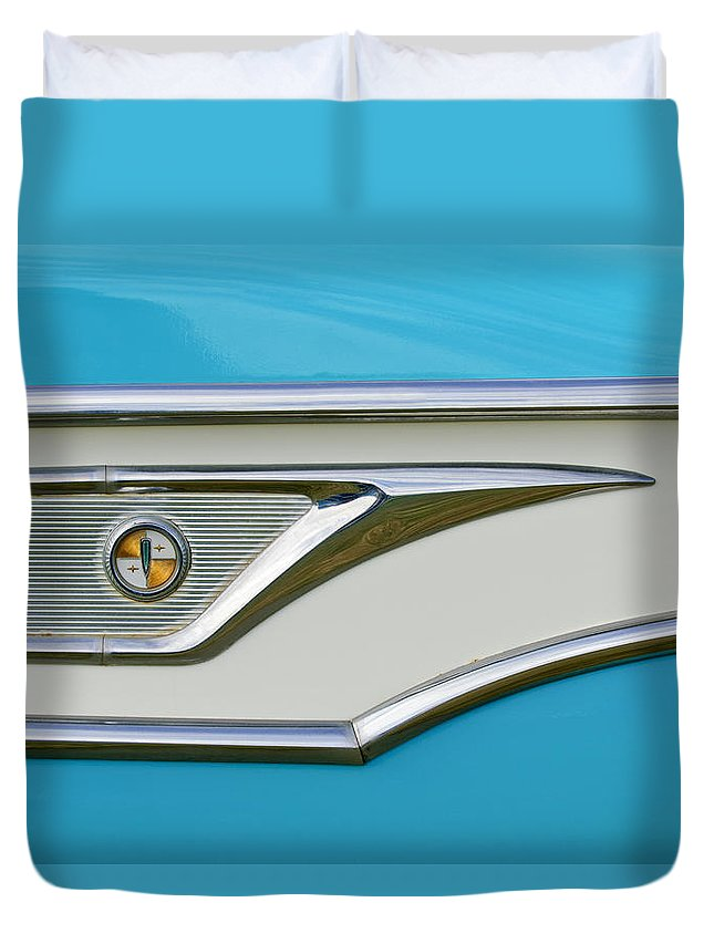 1959 Edsel Corvair Duvet Cover featuring the photograph 1959 Edsel Corvair Side Emblem by Jill Reger