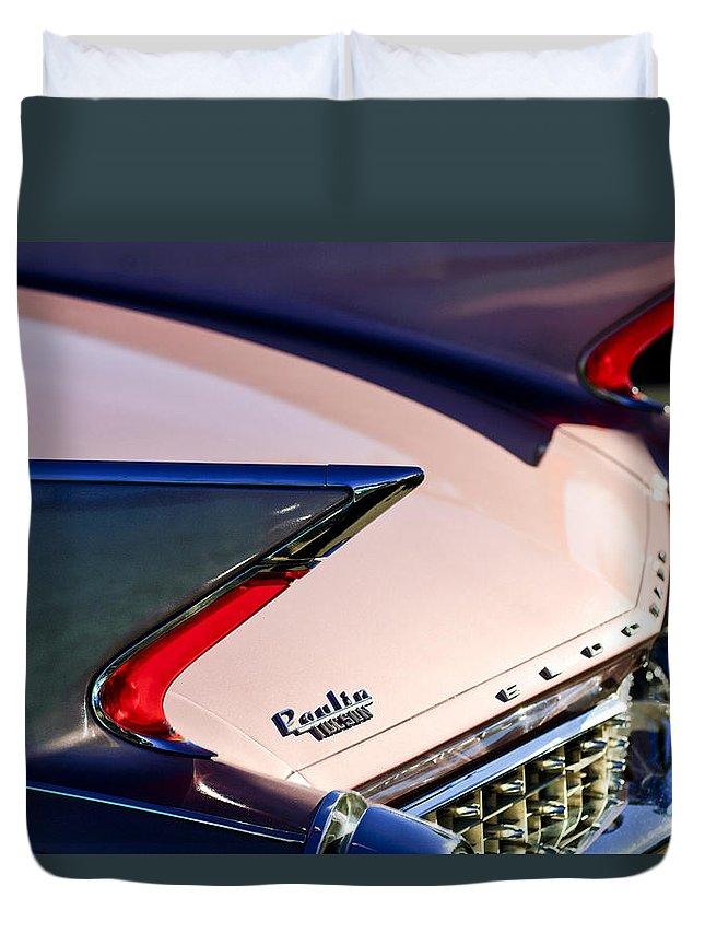 1960 Cadillac Eldorado Duvet Cover featuring the photograph 1960 Cadillac Eldorado Taillights by Jill Reger