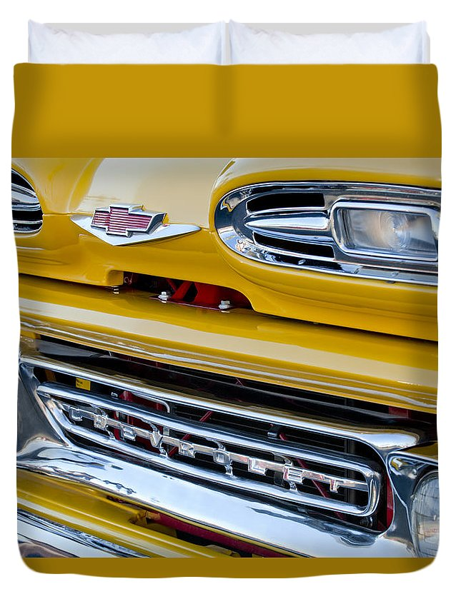 1961 Chevrolet Duvet Cover featuring the photograph 1961 Chevrolet Front End by Jill Reger