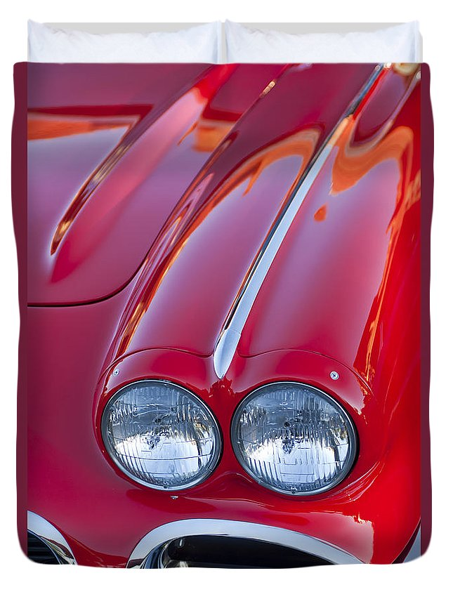 1962 Chevrolet Corvette Duvet Cover featuring the photograph 1962 Chevrolet Corvette Headlight by Jill Reger