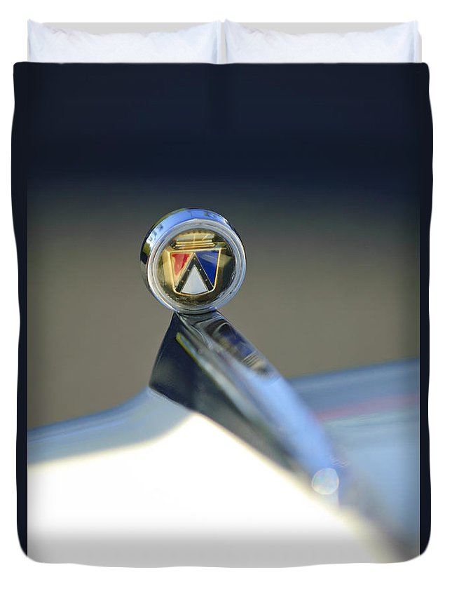 1963 Ford Futura Duvet Cover featuring the photograph 1963 Ford Futura Hood Ornament by Jill Reger