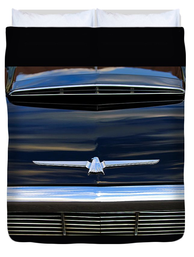 1964 Ford Thunderbird Duvet Cover featuring the photograph 1964 Ford Thunderbird Hood Emblem by Jill Reger