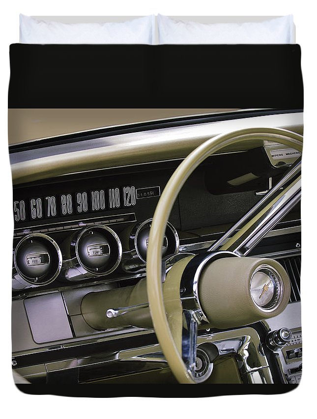 1964 Ford Thunderbird Duvet Cover featuring the photograph 1964 Ford Thunderbird Steering Wheel by Jill Reger