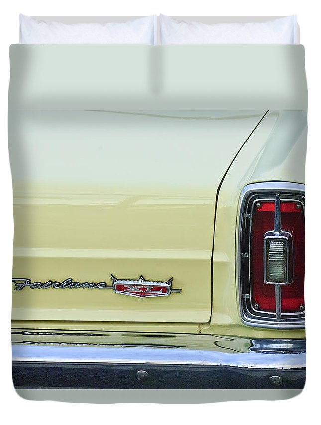 1966 Ford Fairlane Xl Duvet Cover featuring the photograph 1966 Ford Fairlane Xl Taillight Emblem by Jill Reger