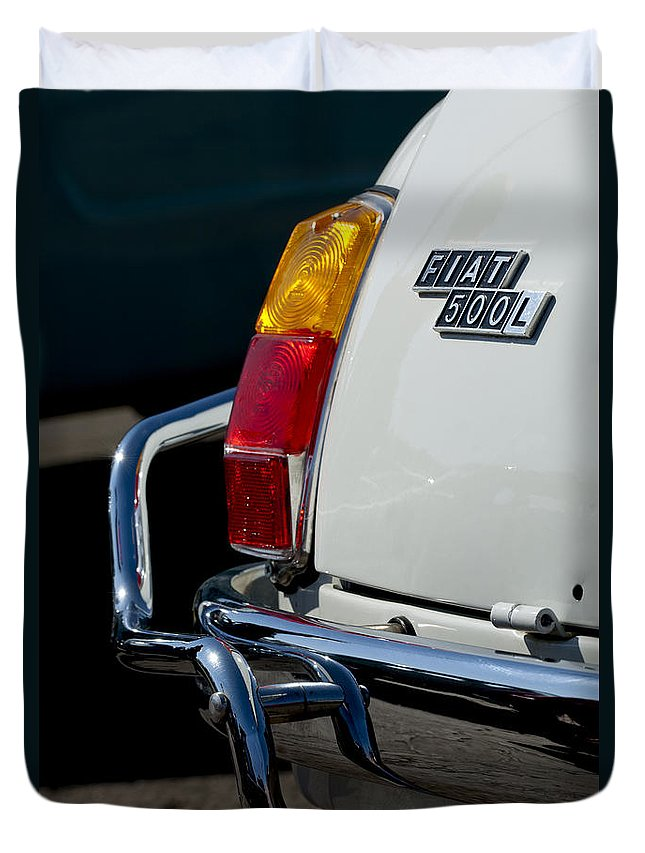 1969 Fiat 500 Duvet Cover featuring the photograph 1969 Fiat 500 Taillight Emblem by Jill Reger