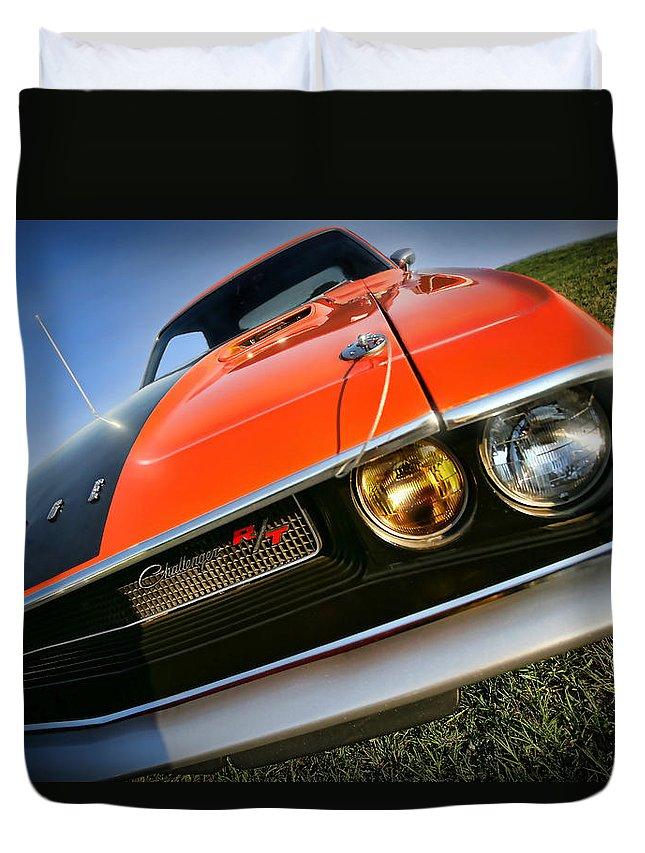 1970 Duvet Cover featuring the photograph 1970 Dodge Challenger Rt Hemi Orange by Gordon Dean II