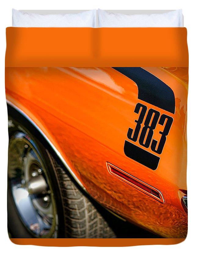 426 Duvet Cover featuring the photograph 1970 Plymouth Cuda Barracuda 383 by Gordon Dean II