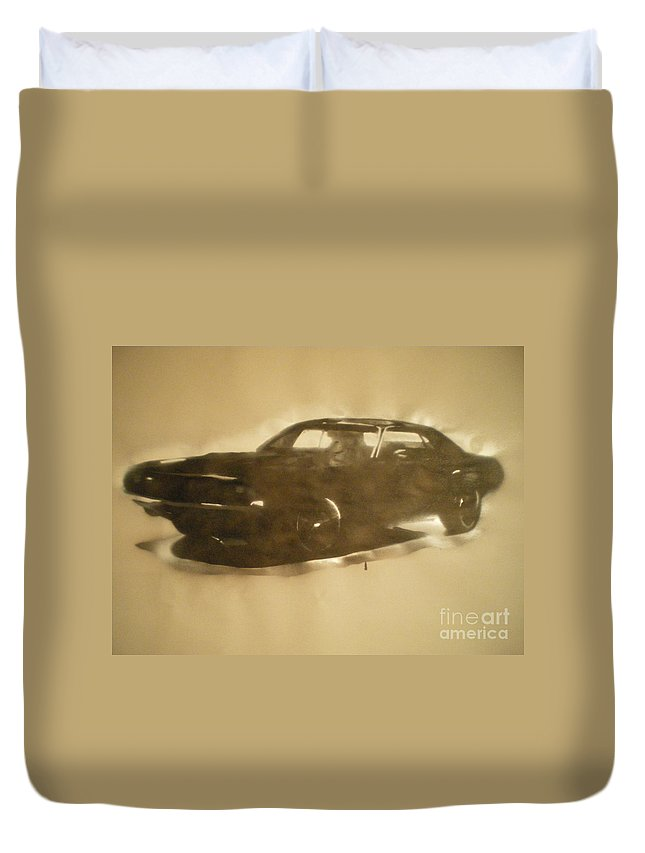 Muscle Car Duvet Cover featuring the painting 1971-dodge-challenger-rt by Barry Boom