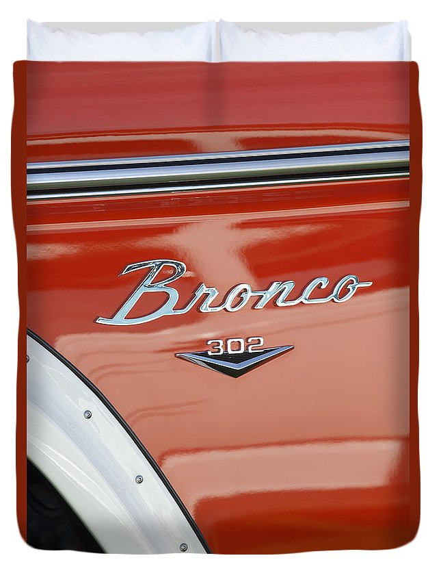 1972 Bronco Duvet Cover featuring the photograph 1972 Bronco Emblem by Jill Reger