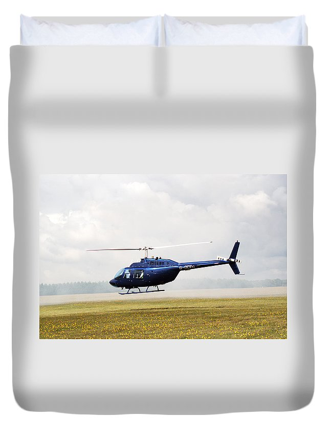 Textron Bell Duvet Cover featuring the photograph 1980 Bell Helicopter Textron Bell 206b by Chris Day