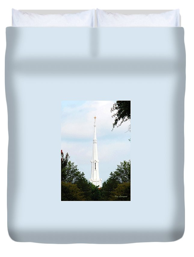 Church Duvet Cover featuring the photograph 1st Christian Steeple by Kay Lovingood