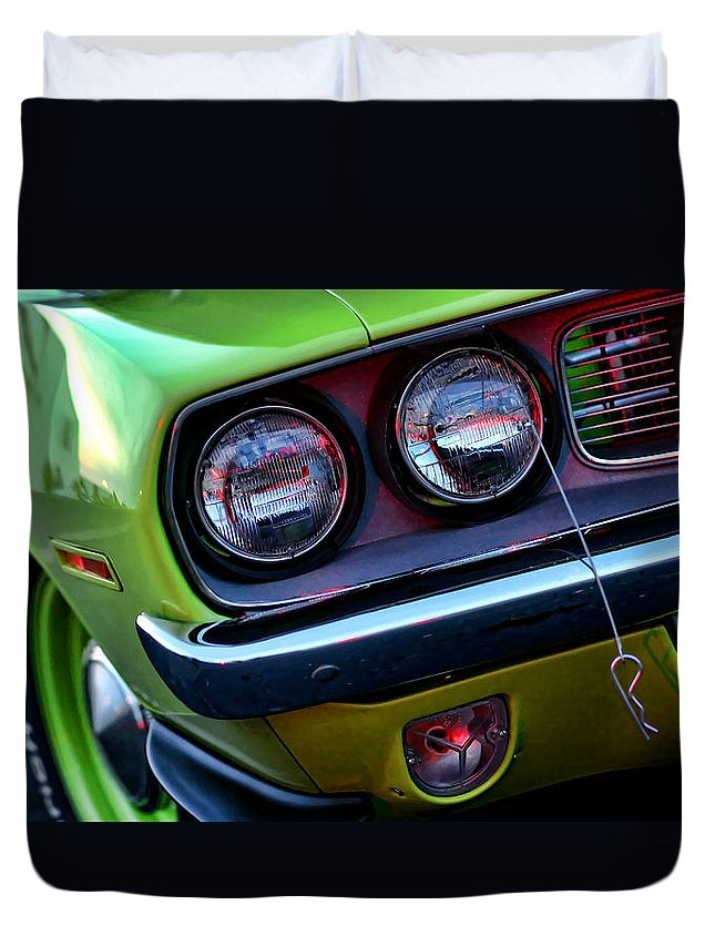 426 Duvet Cover featuring the photograph 1971 Plymouth Hemicuda by Gordon Dean II