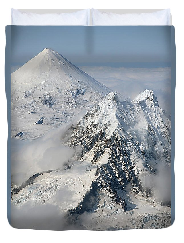 Peak Duvet Cover featuring the photograph Aerial View Of Shishaldin Volcano by Richard Roscoe