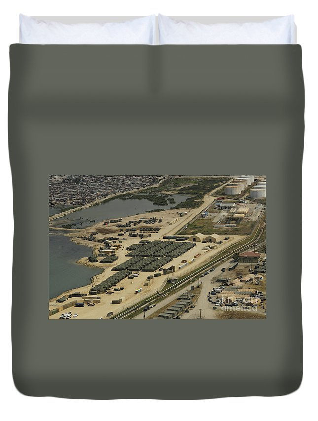 Haiti Duvet Cover featuring the photograph An Aerial View Of The White Beach by Stocktrek Images